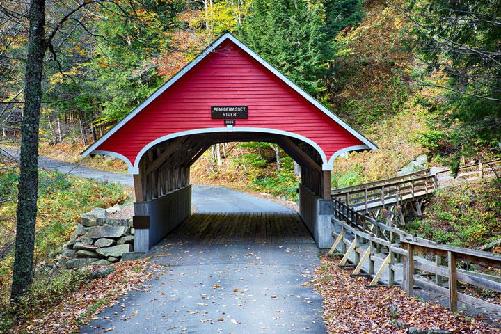 road across a New Hampshire covered bridge
