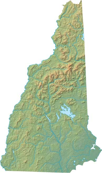 New Hampshire relief map